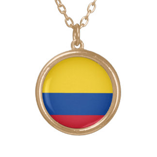 Flag of Columbia, Republic of Colombia Gold Plated Necklace