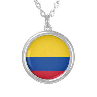Flag of Columbia, Republic of Colombia Silver Plated Necklace