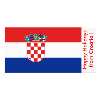 Flag of Croatia, Happy Holidays from Croatia Photo Greeting Card
