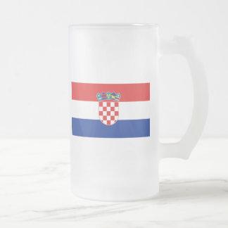 Flag of Croatia 16 Oz Frosted Glass Beer Mug