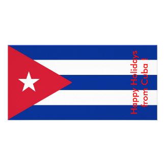 Flag of Cuba, Happy Holidays from Cuba Photo Card