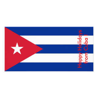 Flag of Cuba, Happy Holidays from Cuba Photo Card