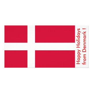 Flag of Denmark, Happy Holidays from Denmark Customized Photo Card