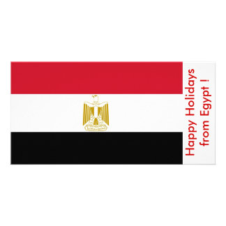 Flag of Egypt, Happy Holidays from Egypt Personalized Photo Card