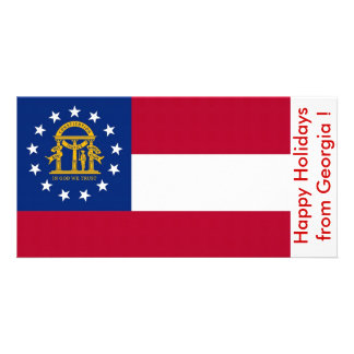 Flag of Georgia, Happy Holidays from U.S.A. Picture Card