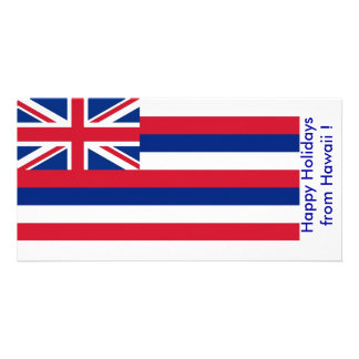 Flag of Hawaii, Happy Holidays from U.S.A. Photo Card