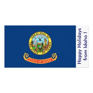 Flag of Idaho, Happy Holidays from U.S.A. Customised Photo Card