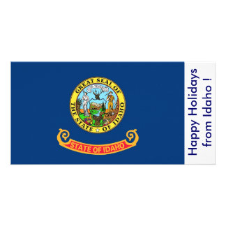 Flag of Idaho, Happy Holidays from U.S.A. Customized Photo Card
