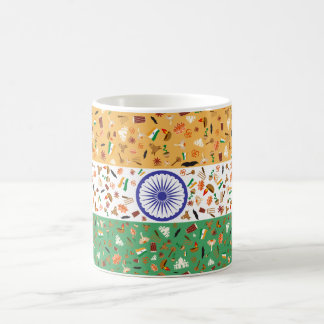 Flag of India with cultural items Coffee Mug