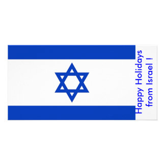 Flag of Israel, Happy Holidays from Israel Customized Photo Card