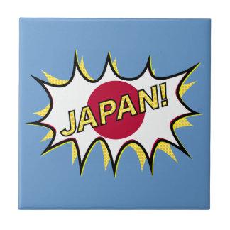 Flag Of Japan Kapow Comic Style Star Small Square Tile