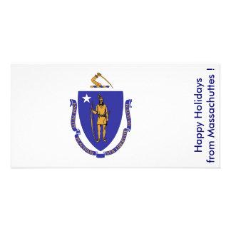 Flag of Maassachuttes, Happy Holidays from U.S.A. Custom Photo Card