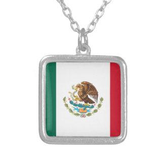 Flag of Mexico - Mexican Flag - Bandera de México Silver Plated Necklace
