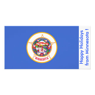 Flag of Minnesota, Happy Holidays from U.S.A. Personalised Photo Card