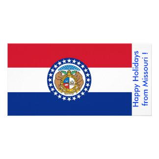 Flag of Missouri Happy Holidays from U S A Customized Photo Card