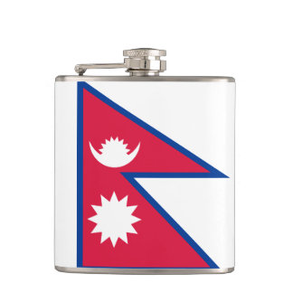 Flag of Nepal Vinyl Wrapped Flask