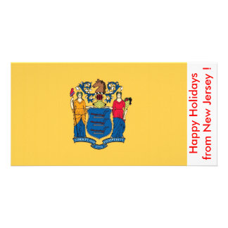Flag of New Jersey, Happy Holidays from U.S.A. Photo Card Template