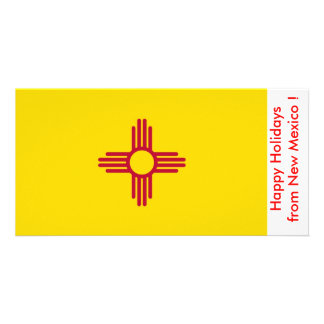 Flag of New Mexico Happy Holidays from U S A Customized Photo Card