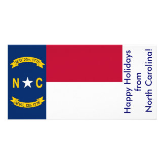 Flag of North Carolina, Happy Holidays from U.S.A. Customized Photo Card