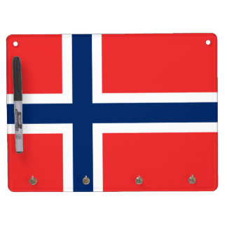 Flag of Norway Dry Erase Board With Key Ring Holder