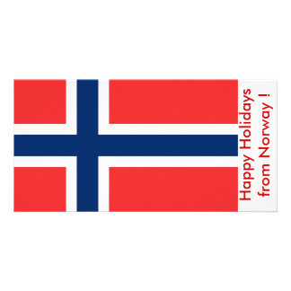 Flag of Norway, Happy Holidays from Norway Customised Photo Card