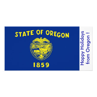 Flag of Oregon, Happy Holidays from U.S.A. Photo Greeting Card