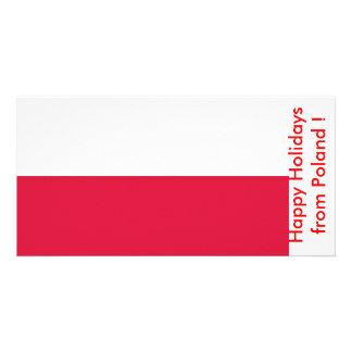 Flag of Poland, Happy Holidays from Poland Custom Photo Card