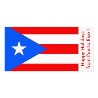 Flag of Puerto Rico, Happy Holidays from U.S.A. Photo Card Template