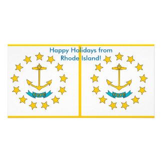 Flag of Rhode Island, Happy Holidays from U.S.A. Custom Photo Card