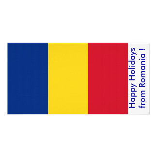 Flag of Romania, Happy Holidays from Romania Photo Card Template