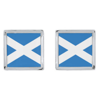 Flag of Scotland Cufflinks Silver Finish Cufflinks