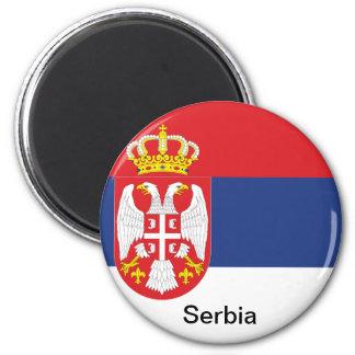 Flag of Serbia 6 Cm Round Magnet