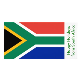 Flag of South Afric, Happy Holidays from Africa Personalised Photo Card