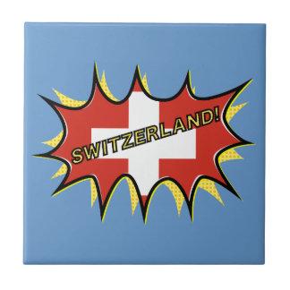 Flag of Switzerland Pow Boom Pop Small Square Tile