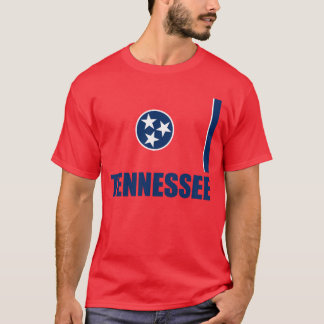 Flag Of Tennessee Blue Text Red T-Shirt