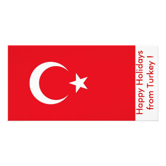 Flag of Turkey, Happy Holidays from Turkey Personalized Photo Card
