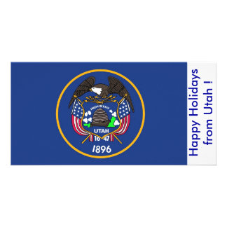 Flag of Utah, Happy Holidays from U.S.A. Photo Card