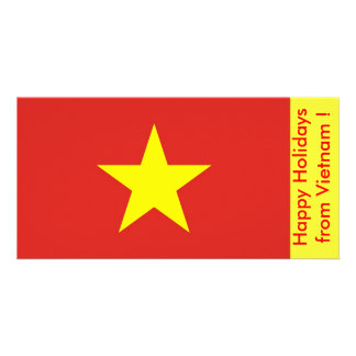 Flag of Vietnam Happy Holidays from Vietnam Custom Photo Card
