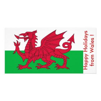 Flag of Wales, Happy Holidays from U.K. Custom Photo Card