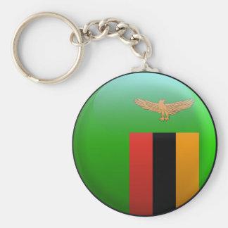 Flag of Zambia Basic Round Button Key Ring