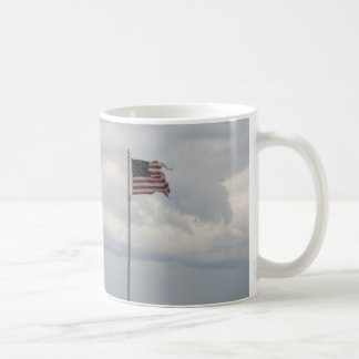 Flag on a cloudy day basic white mug