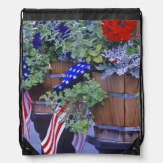 Flags and Flowers in Philipsburg Montana Drawstring Bag