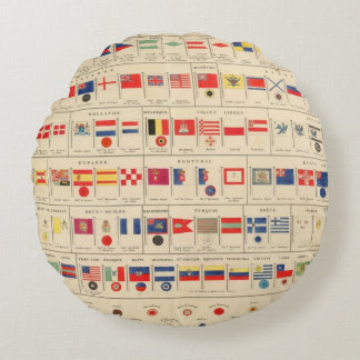 Flags, Badges Round Pillow