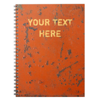 Flaky, scratched red paint. Faux rust and grunge Notebooks