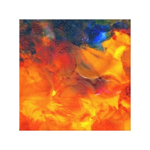 Flame Flowers Abstract Orange Gold Stretched Canvas Prints