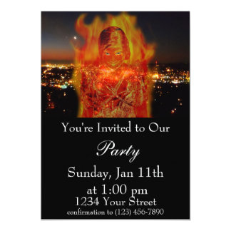 Flame Girl Party Invite
