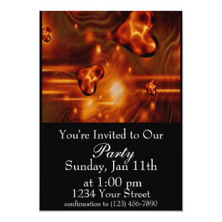 Flame heart Party Invite