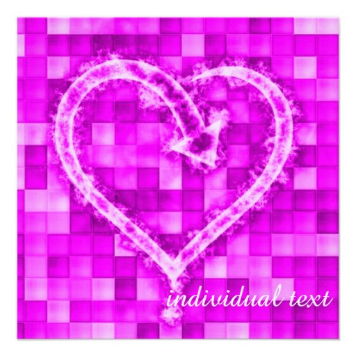 flame heart,pink invitation
