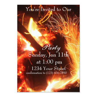 """Flame sparks Party Invite full 5"""" X 7"""" Invitation Card"""