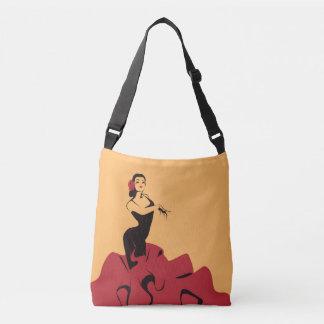 flamenco dancer in a spectacular pose crossbody bag